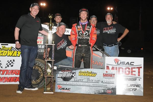 """Tanner Thorson (middle) won night #3 of 2016 """"Indiana Midget Week"""" after taking Thursday night's feature at Lincoln Park Speedway in Putnamville, Ind. (DAVID NEARPASS PHOTO)"""