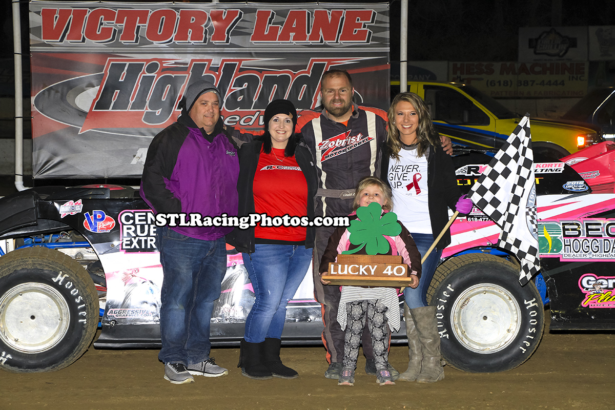 Chad Zobrist, Mike Harrison & Ryan Eilers take Lucky 40 wins at Highland Speedway!