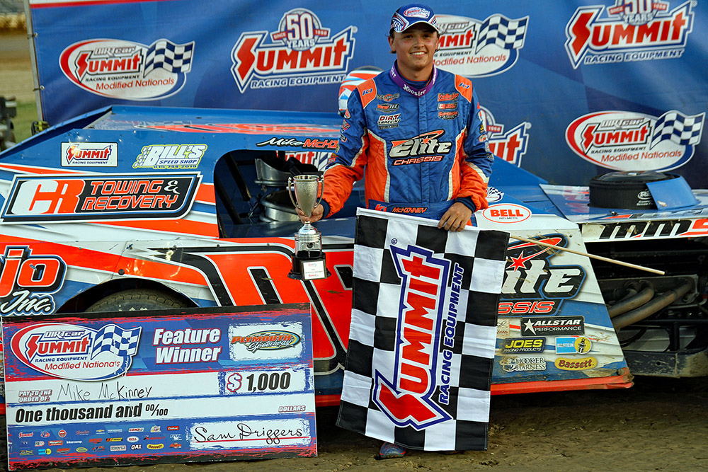 Mike McKinney wins third straight Summit Modified Nationals with win at Plymouth Speedway