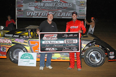 Billy Moyer, Jr. in victory lane at NEA Speedway (Woody Hampton Photo)