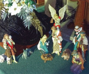 Nativity Set at the foot of the tree