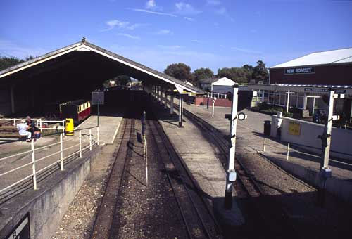 View from the bridge towards Hythe, showing the main lines. On the right is the cafe and the model railway exhibition.