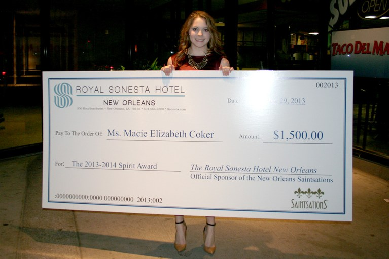 DHS - Macie Coker 2014 Saintstaions Spirit Award IMG_4352