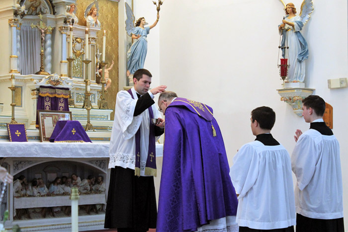 Ash Wednesday: Fr. Casimir receives ashes from Fr. Augustine Marie