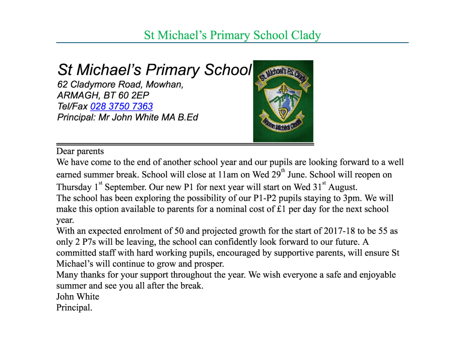 End of Year Letter 2015/16