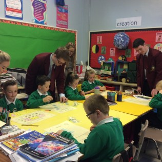 As part of National Maths Week a team from St Michael's took part in a maths quiz held by Keady High School. The team of Art, Cormac, Caitlin and Eli put up a great effort, well done everyone.