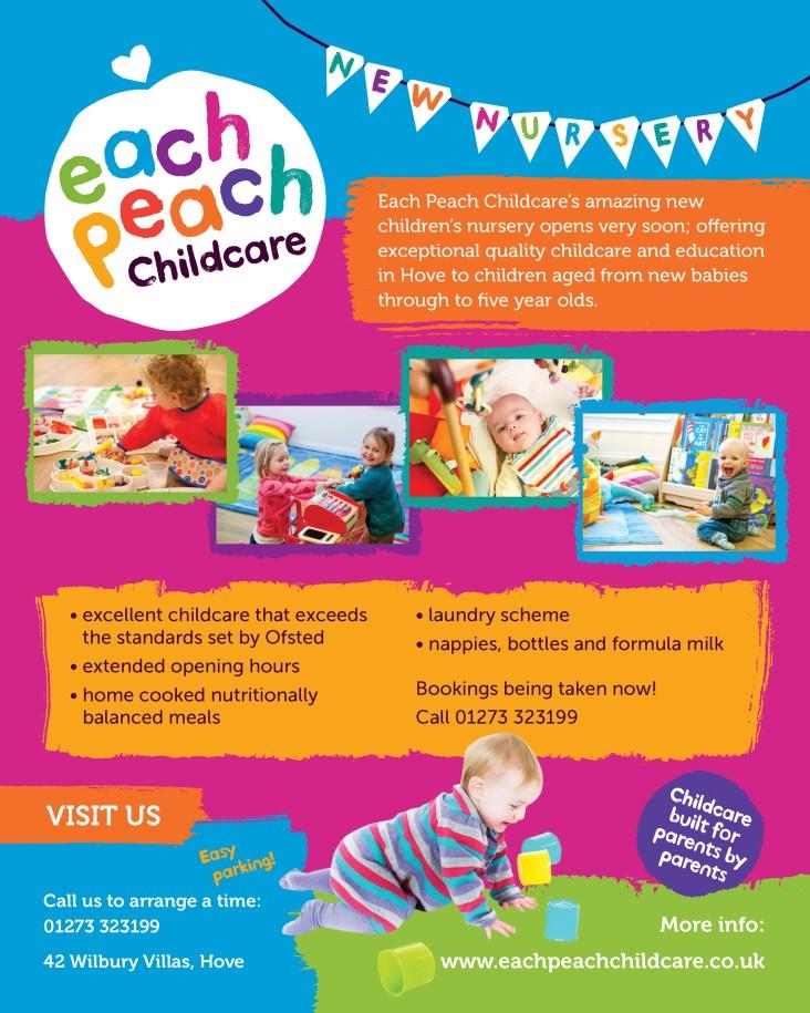 Poster design for Each Peach Childcare Brighton