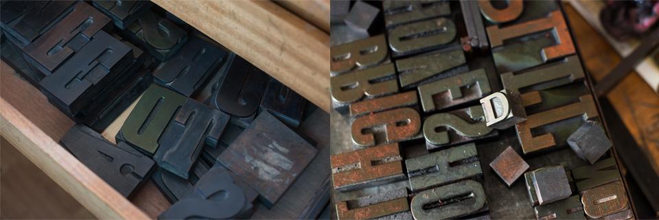 Wooden type blocks