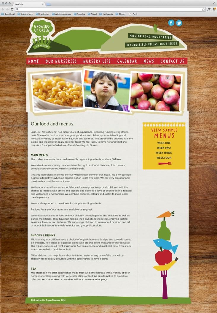 Nursery website page design