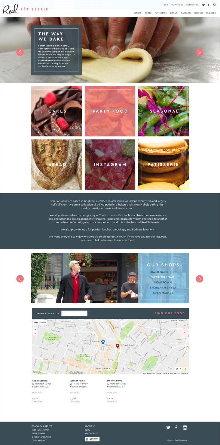 Website design for Real Patisserie