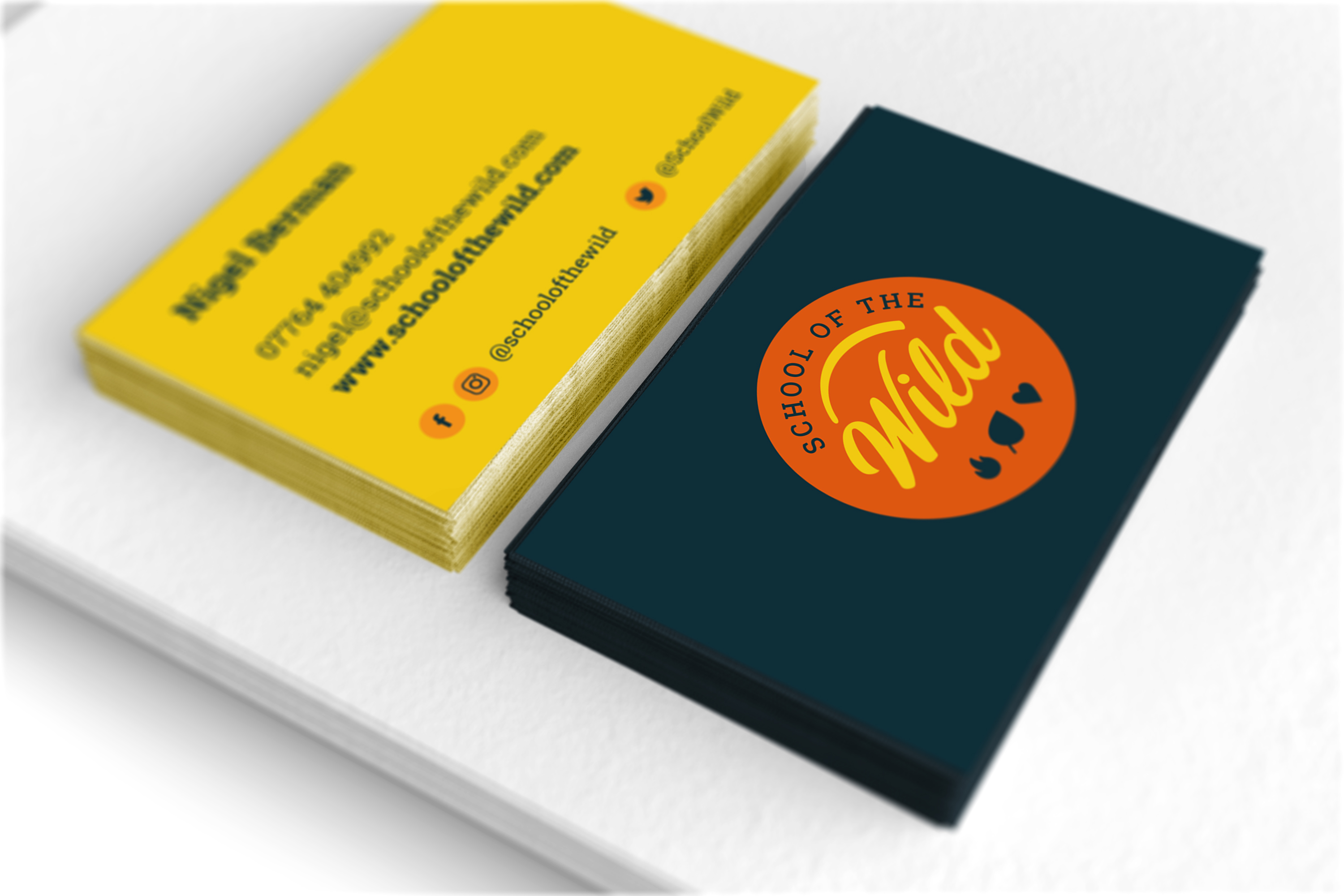 School of the Wild logo and business card design