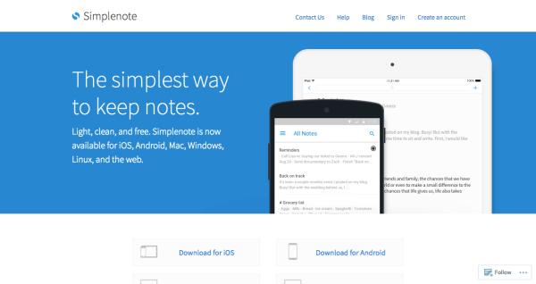 Simplenoteのトップページ