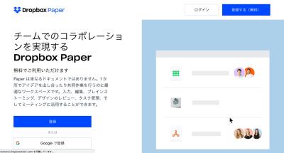 Dropbox Paperのトップページ