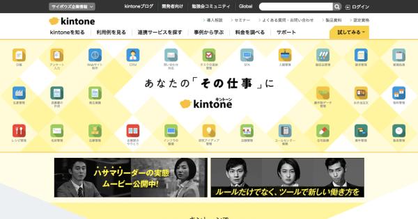 Kintoneのトップページ