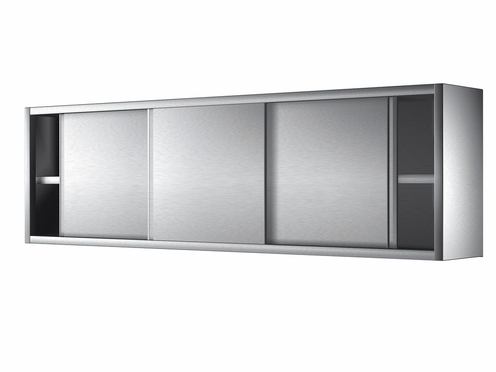 armoire inox murale avec portes coulissantes et etagere intermediaire 1000x400 mm