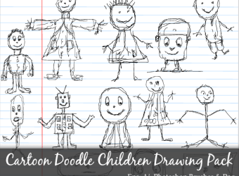 hand-drawn-cartoon-doodle-children-drawing-vector-photoshop-brushes-pack