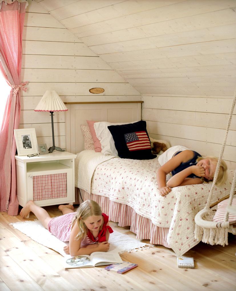 Das Kinderzimmer unseres Ferienhauses in Stockholm, Schweden