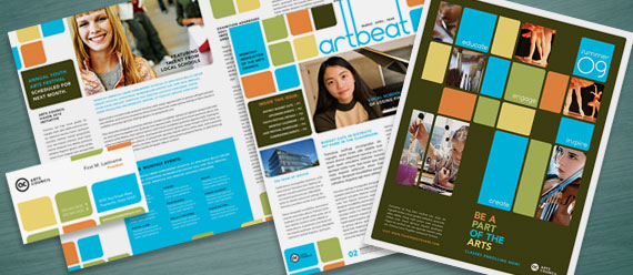Arts Council & Education Brochure, Newsletter, Postcard, Stationery, and Poster Designs