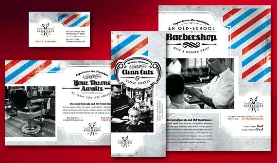 Barbershop Brochure, Postcard, Flyer & Ads, and Stationery Designs