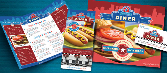 American Diner Restaurant Menu, Brochure, Poster, Flyer & Ad and Stationery Designs
