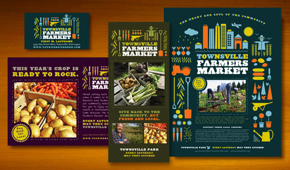 Farmers Market Brochure, Postcards, Flyer & Ads, Posters, and Stationery Designs