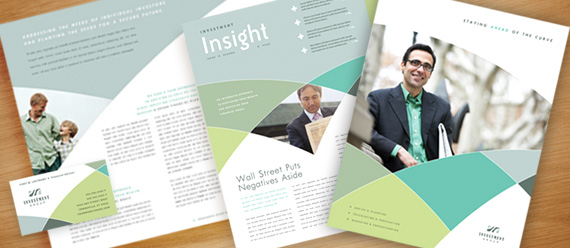 Financial Services Brochure, Postcard, Newsletter, Flyer & Ad, Presentation, and Stationery Designs