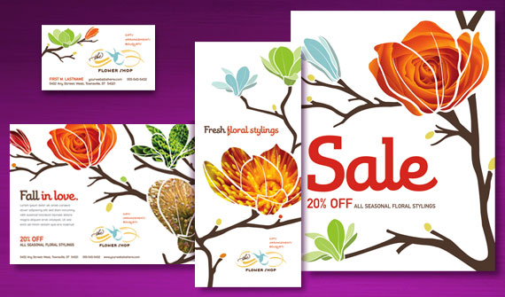 Flower Shop Brochure, Postcard, Poster, Flyer & Ads, and Stationery Designs