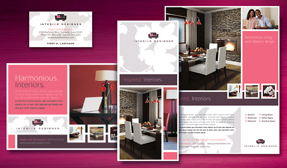 Interior Design Brochure Flyer Ads Stationery And Note Card Designs