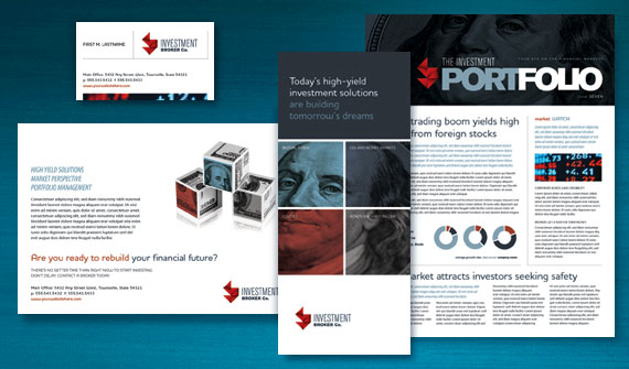 Investment Bank Brochure, Newsletter, Flyer & Ads, Datasheet, Tri-fold Brochure, and Stationery Designs