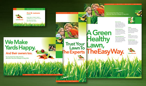 Lawn Maintenance Service Brochure, Postcard, Flyer & Ads, and Stationery Designs