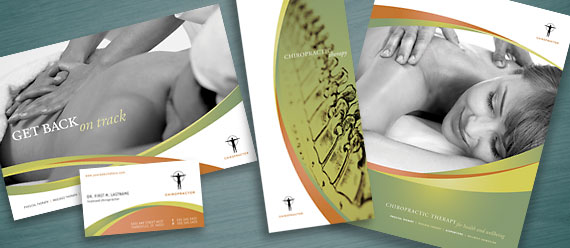 Massage & Chiropratic Office Brochure, Postcard, Stationery, and Tri-Fold Brochure Designs