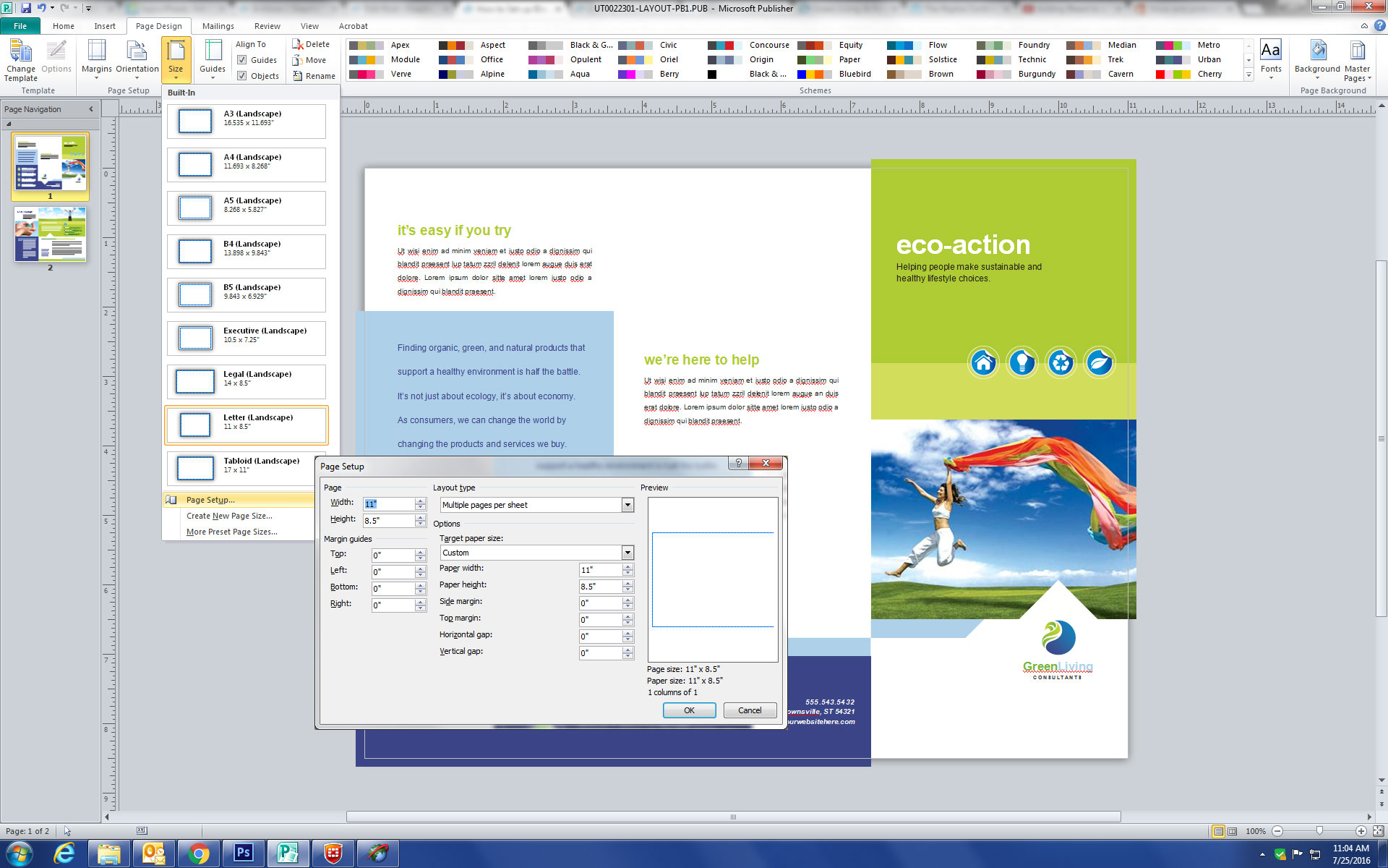 Microsoft Publisher Page Setup Document Size