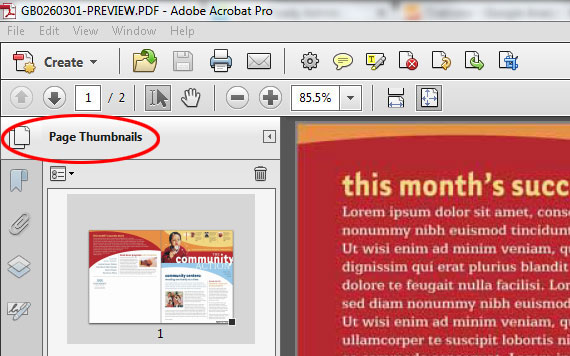 Show Page Thumbnails in Acrobat