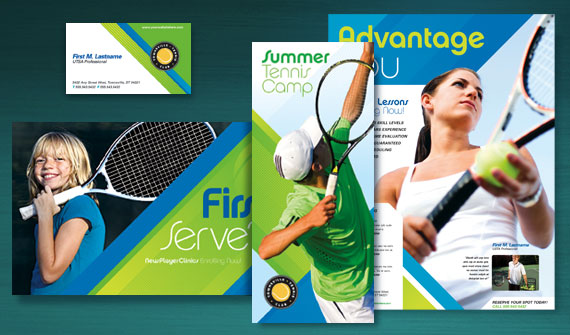 Tennis Club & Camp Brochure, Postcards, Flyer & Ads, and Stationery Designs