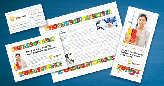 Bookkeeping Services Brochure, Flyer, Postcard Designs