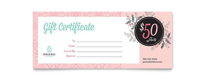 Massage Therapy Gift Certificate