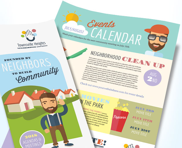 homeowners association newsletter marketing design layout ideas