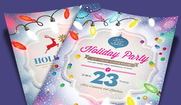Office Christmas Party Invitations - Holiday Lights