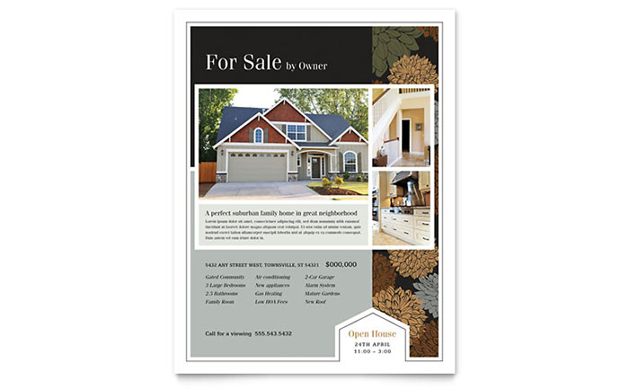 Real Estate Flyer Sample #5 - Suburban House