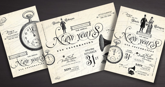 Vintage Style New Year S Party Designs Stocklayouts Blog