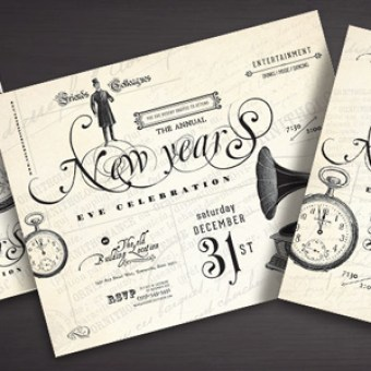 vintage style new years party designs