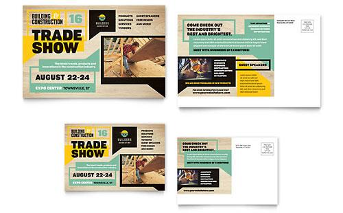 Builders Trade Show Postcard Template Design