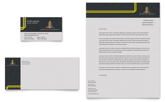 Trucking Amp Transport Business Card Amp Letterhead Template