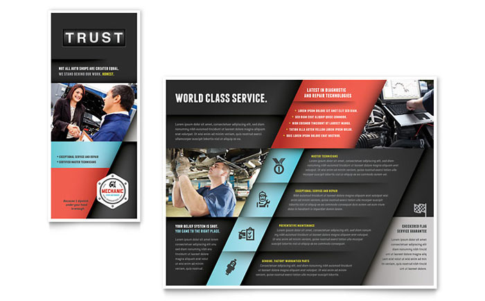 Tri Fold Brochure Sample - Auto Mechanic