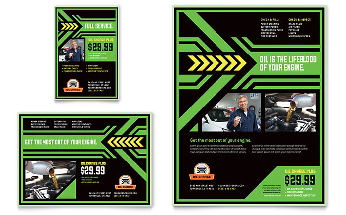 Oil Change Service Flyer & Advertisement Design Sample