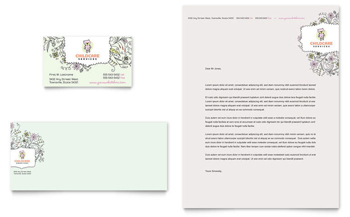 Baby & Child Day Care Business Card & Letterhead Design