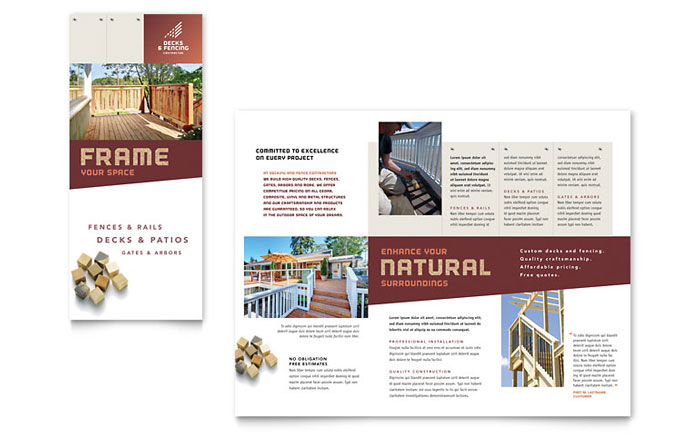 Decks & Fencing Tri-Fold Brochure Design Example