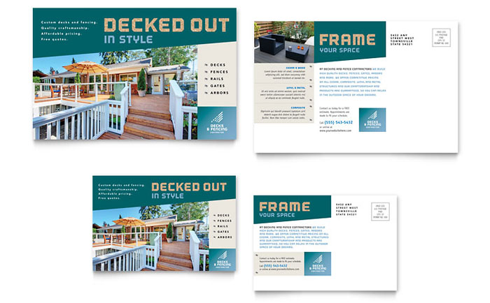 Decks & Fencing Postcard Design Example