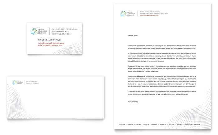 Language Arts Letterhead & Business Card Design