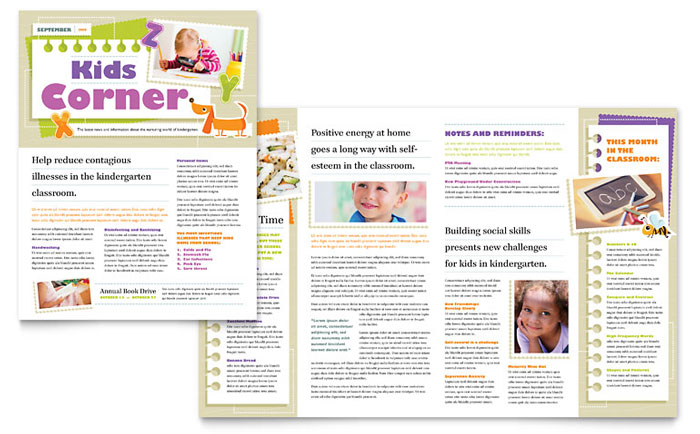 Kindergarten School Newsletter Template Design